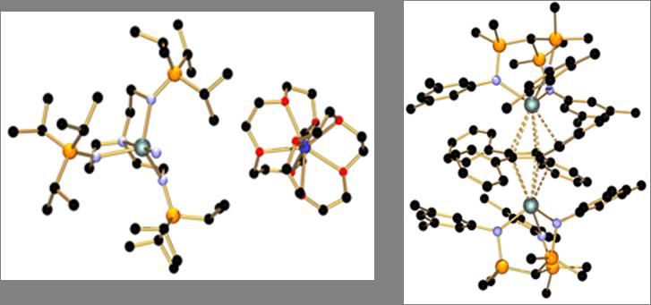 左:第一个U(V)-N三键;之后氧化成第一个U(VI)-N三键;右:第一个U-cyclobutadienyl化合物
