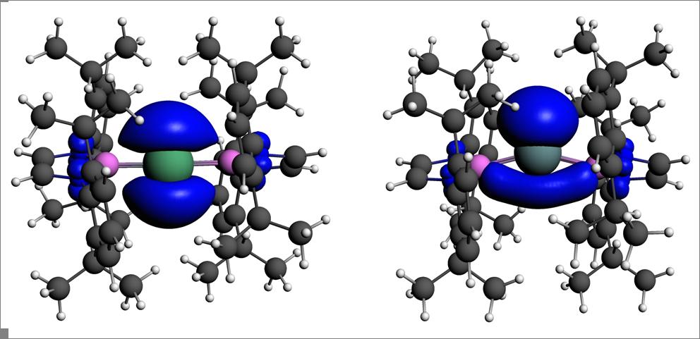 Tl[B(NDippCH)2]2(左)与In[B(NDippCH)2]2的自旋密度